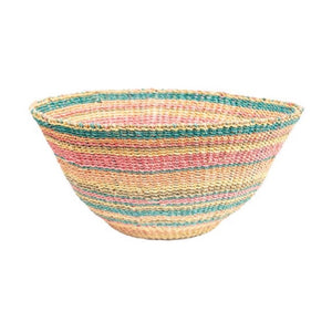 "Multi-color striped Calypso Basket/Bowl is hand woven  in coral, orange, turquoise and natural abaca. Measures 18"" diameter 8""H and has a hanger loop for display."