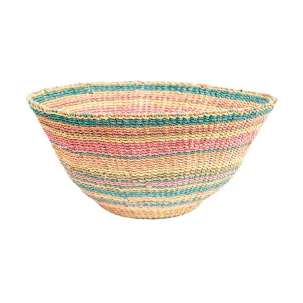 Multi-color striped Calypso Basket/Bowl is hand woven  in coral, orange, turquoise and natural abaca. Measures 18