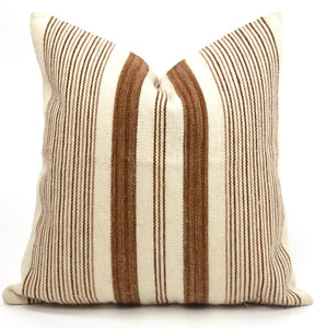 Cream and camel varigated stripe alpaca wool pillow