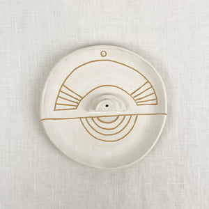 Sgraffito Incense Dish by Curious Clay. White matte glaze with etched tribal pattern.