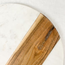 "Load image into Gallery viewer, White marble with natural wood serving board, round. Measures 12"" diameter."