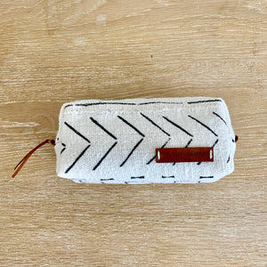 bohemian white and black tribal make up bag