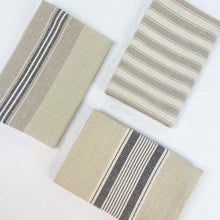 Load image into Gallery viewer, Beige and grey ticking stripe kitchen towels. Set of 3.