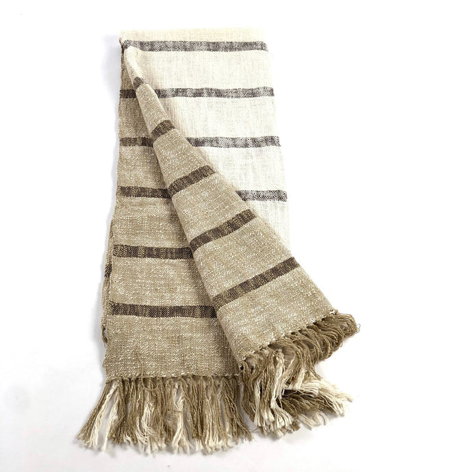 Sand colored cotton throw with brown stripes