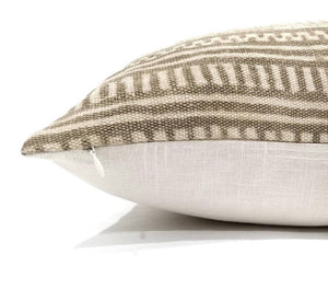 tan and cream tribal mud cloth throw pillow