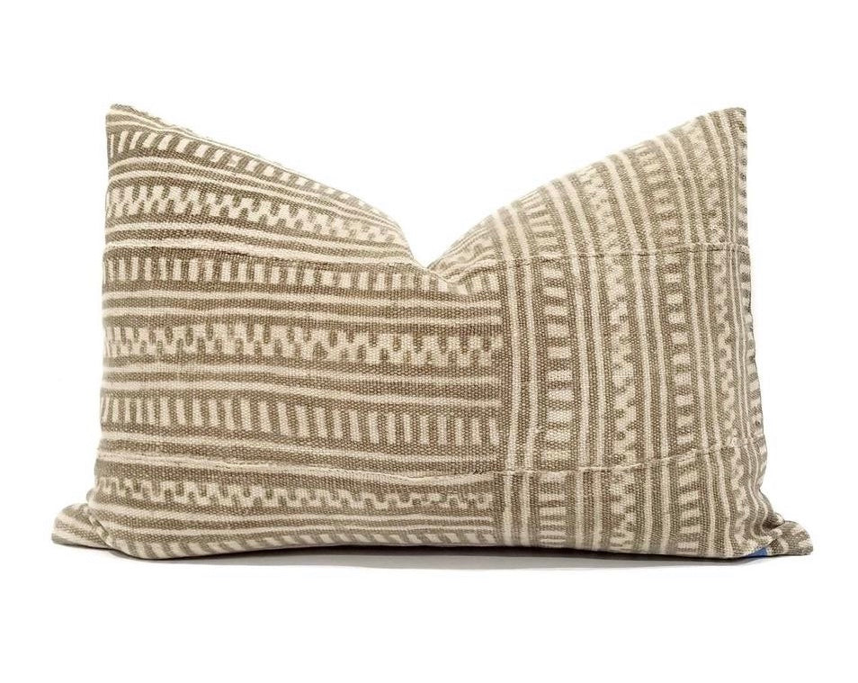 tan and cream mud cloth throw pillow