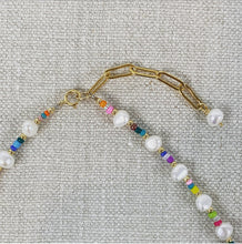 Load image into Gallery viewer, Close up of gold paper clip chain length extender.