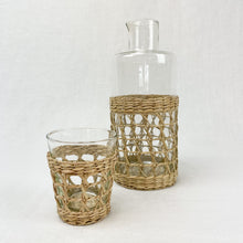 Load image into Gallery viewer, Seagrass cage carafe and small tumbler. Each sold separately.
