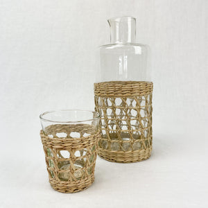 Seagrass cage carafe and small tumbler. Each sold separately.