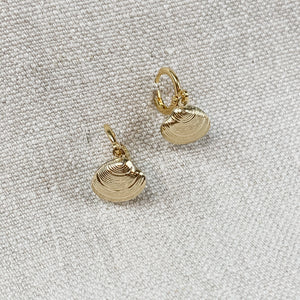 Clamshell Huggie Earrings in 24k plated gold. Designed by Katie Waltman.