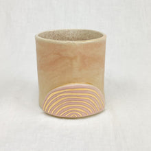 Load image into Gallery viewer, Golden Rainbow Ceramic Tumbler. Small cup with blush pink glaze and hand painted gold rainbow. Handmade by Curious Clay.