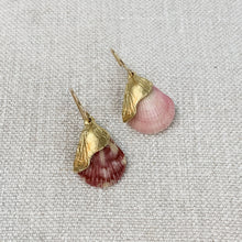 Load image into Gallery viewer, Natural pink shell  and gold plated drop earrings. Made by Takara Jewelry.