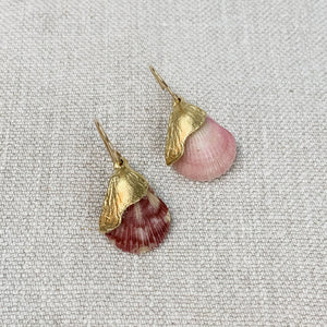 Natural pink shell  and gold plated drop earrings. Made by Takara Jewelry.
