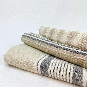 Grey and beige stripe kitchen towels. Set of 3.