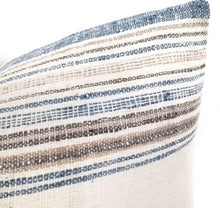 Load image into Gallery viewer, Lumbar Pillow artisan textile cover with blue, tan and brown stripes