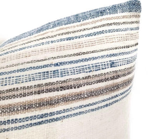 Lumbar Pillow artisan textile cover with blue, tan and brown stripes
