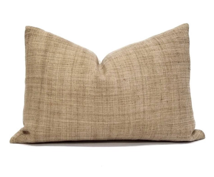 Hmong throw pillow in dark caramel color with cream back