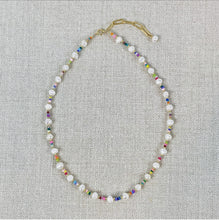 Load image into Gallery viewer, Pearl and rainbow seed bead choker necklace.