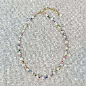 Pearl and rainbow seed bead choker necklace.
