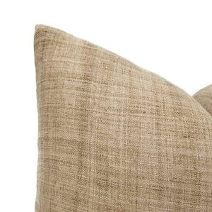 Artisan textile pillow with cross hatch texture in dark caramel color