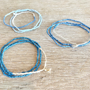 African blue seed bead necklaces