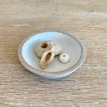 Load image into Gallery viewer, small trinket bowl in greystone with white glaze