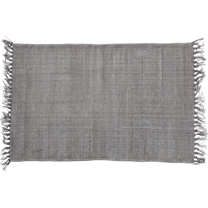 warm-grey printed flatweave rug with fringe ends