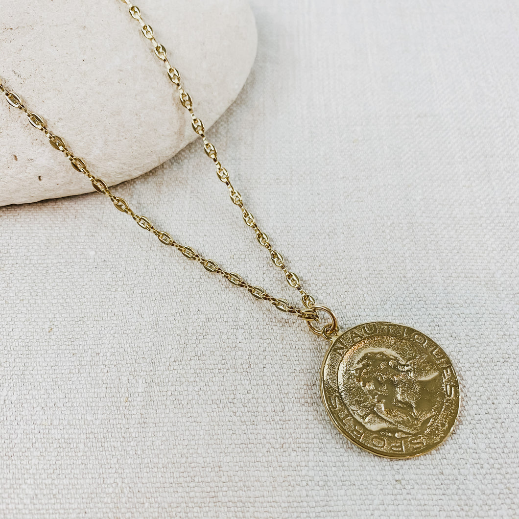 Gold plated chain necklace with vintage French coin. Designed by Katie Waltman.
