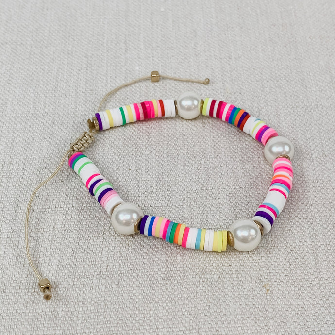 Rainbow & Pearls Surfer Bracelet