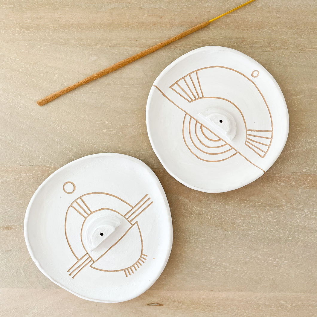 Sgraffito Incense Dishes by Curious Clay. White matte glaze with etched tribal pattern. Each sold separately.