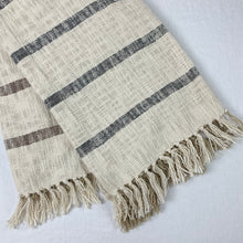 Load image into Gallery viewer, Cotton throw, cream ground with brown and black stripes on reverse side.