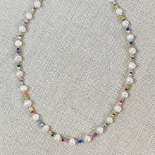 Load image into Gallery viewer, Pearl and multi-colored seed bead choker necklace.