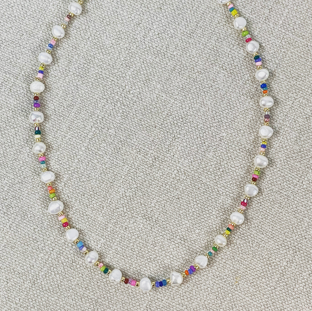 Pearl and multi-colored seed bead choker necklace.