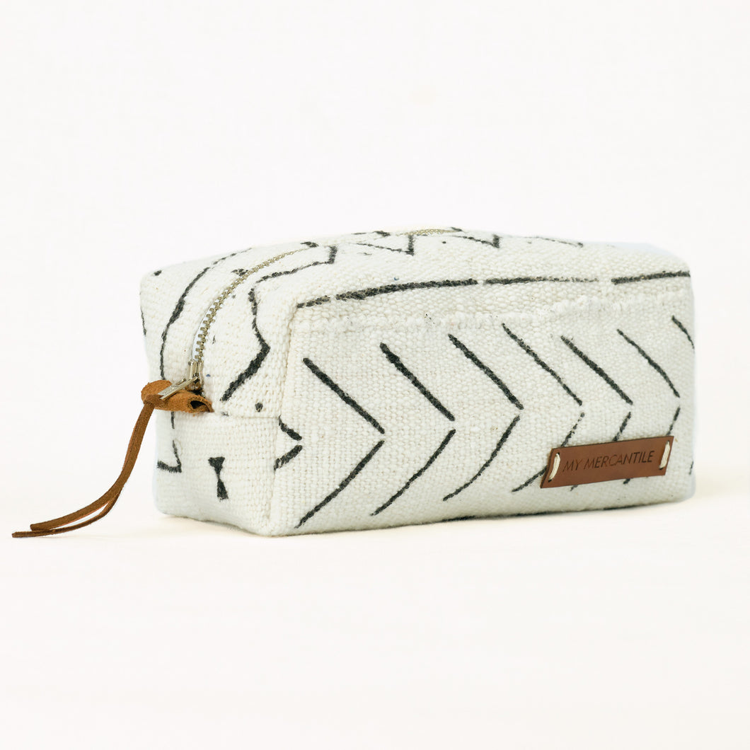 white and black tribal make up bag