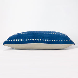 indigo shibori stripe pillow with natural linen back