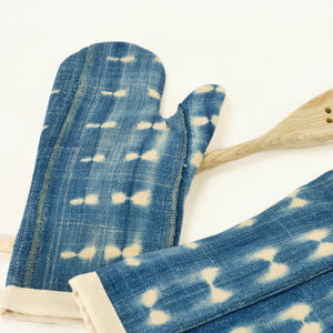 Pair of indigo mud cloth pot holders
