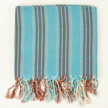 Load image into Gallery viewer, Turkish cotton towel in aqua with orange and white stripes