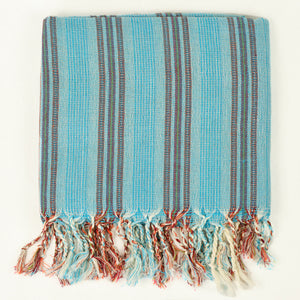 Turkish cotton towel in aqua with orange and white stripes