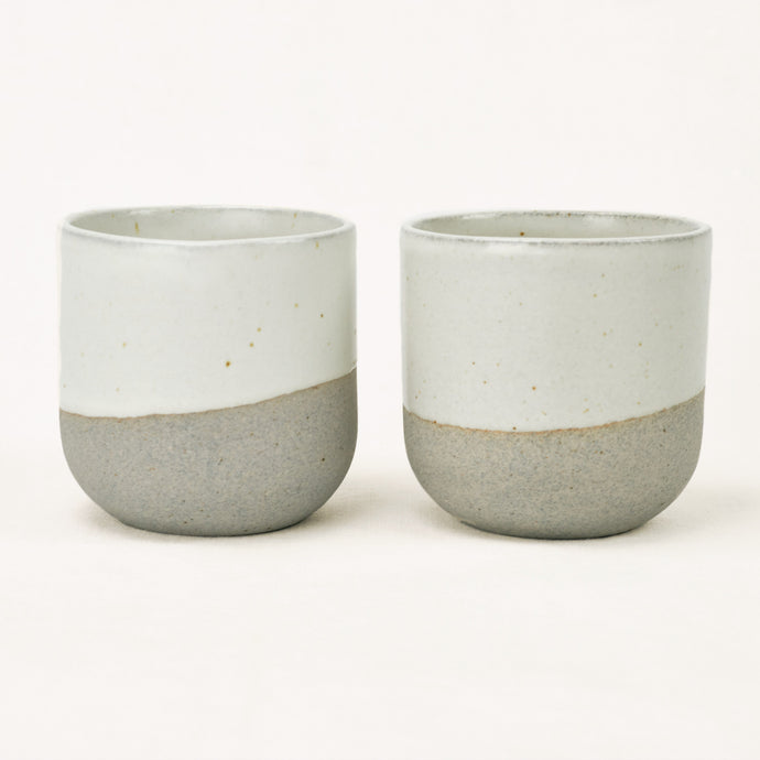 greystone ceramic cup with white glaze