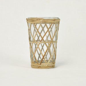 wicker and glass votive holder