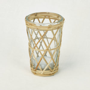 cane and glass votive holder
