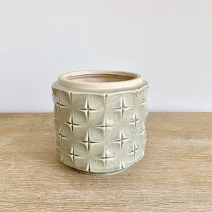 high gloss celadon green ceramic pot with cross etched pattern