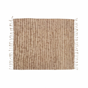 "Neutral Tie Dye throw in soft shades of sandy beige and pale nude. Soft cotton-rayon blend in a chenille weave. Measures 53""W x 65""L  with hand twisted tassels at each end."