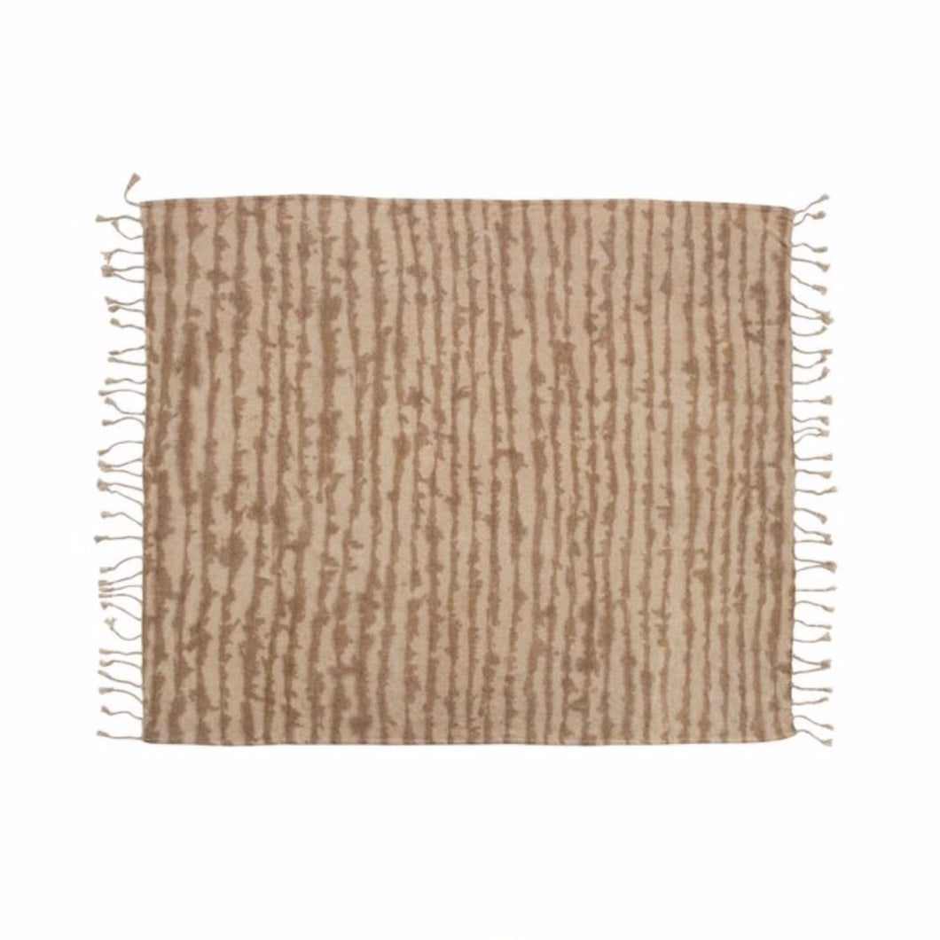Neutral Tie Dye throw in soft shades of sandy beige and pale nude. Soft cotton-rayon blend in a chenille weave. Measures 53