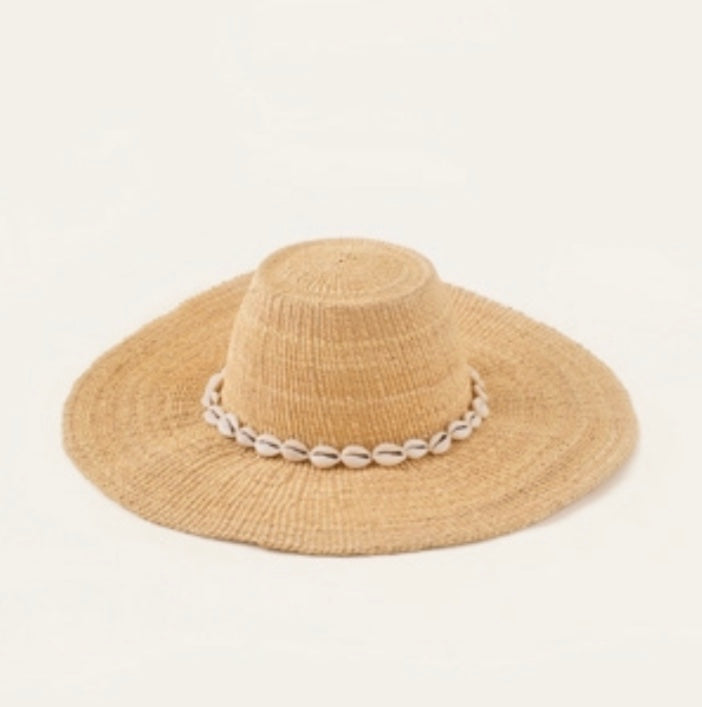 straw sun hat with cowrie shells
