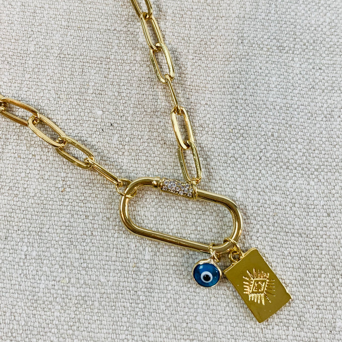 Gold plated chain necklace with carabiner  and evil eye tag & charm.