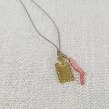 Load image into Gallery viewer, Delicate pink coral and gold tag charm necklace on grey silk cord.