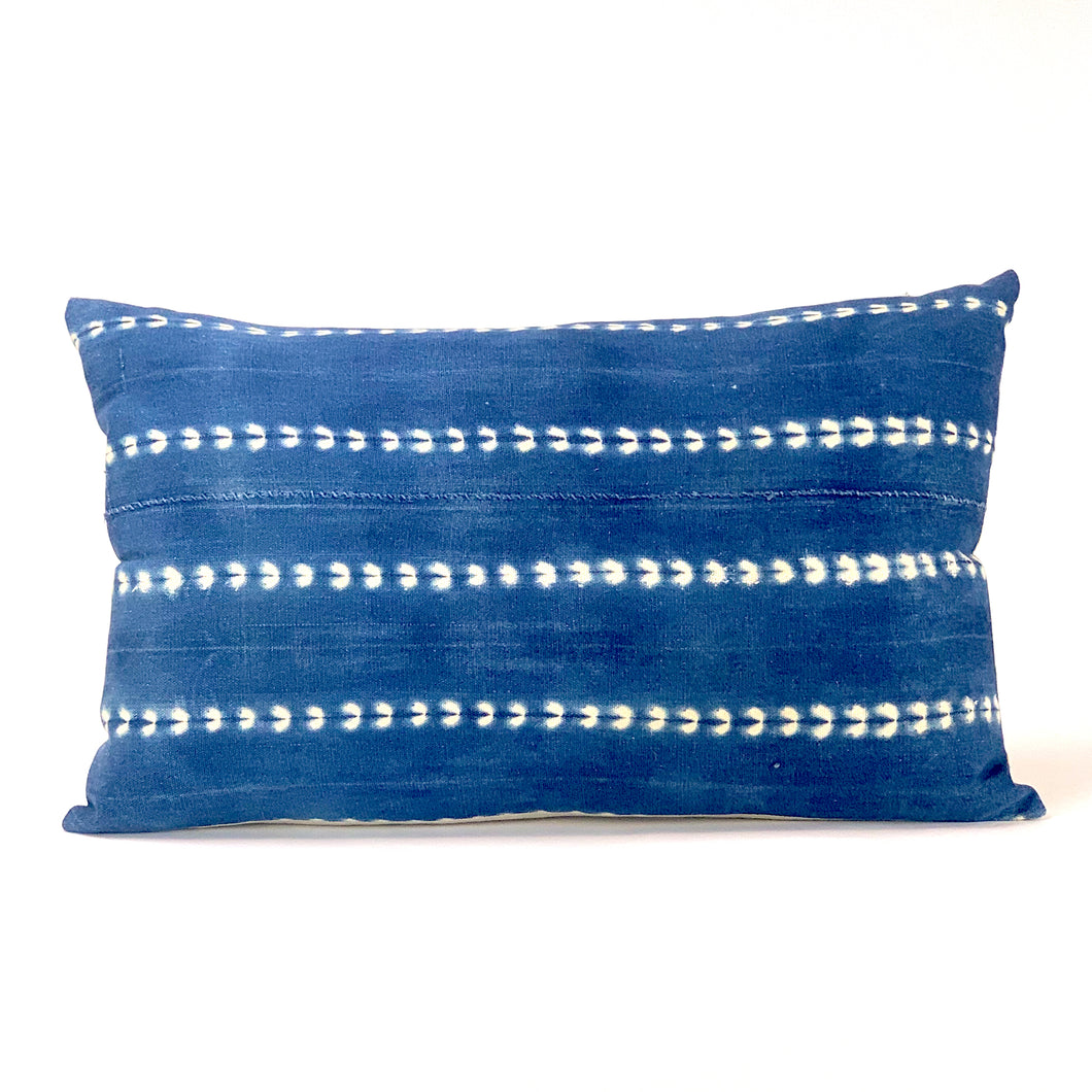 indigo and cream shibori stripe lumbar pillow