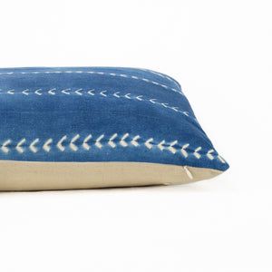 indigo shirbori stripe lumbar pillow with natural linen back
