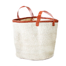 Load image into Gallery viewer, Large floor bin made of white sisal with natural leather handles
